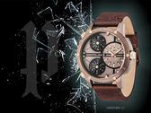 【時間道】POLICE 三時區大錶徑造型腕錶/古銅金仿舊紅棕皮(14699JSBN-12)免運費