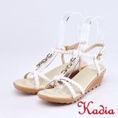 kadia.編織交叉牛皮涼鞋(9118-10白色)