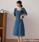 洋裝 法式復古小眾牛仔連身裙女夏2021新款設計感方領收腰氣質輕熟長裙 秋季新品