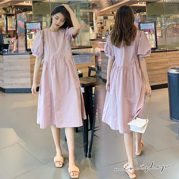 孕婦裝 MIMI別走【P521461】靜謐柔美 修飾泡泡袖抓褶連身裙 孕婦洋裝