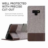 三星Galaxy Note 9 十字紋拼色 牛皮布 掀蓋磁扣手機套 皮夾卡片式手機殼 側翻可立式 外磁扣皮套