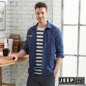 【JEEP】舒適輕薄襯衫式外套-深藍