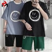 運動套裝男韓版潮流夏季男生衣服休閒短袖短褲一套搭配帥氣兩件套 米希美衣