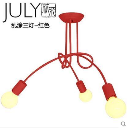 美術燈  兒童房吸頂燈創意個性北歐小臥室燈現代簡約服裝店亂塗吸頂燈(三燈)-不含光源