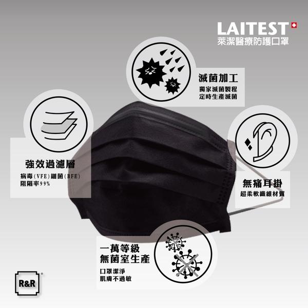 萊潔 醫療防護口罩(成人)曜石黑-50入盒裝