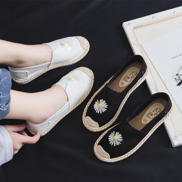 漁夫鞋 小雛菊女夏亞麻春季新款老北京布鞋女時尚款軟底平底鞋 - 歐美韓熱銷