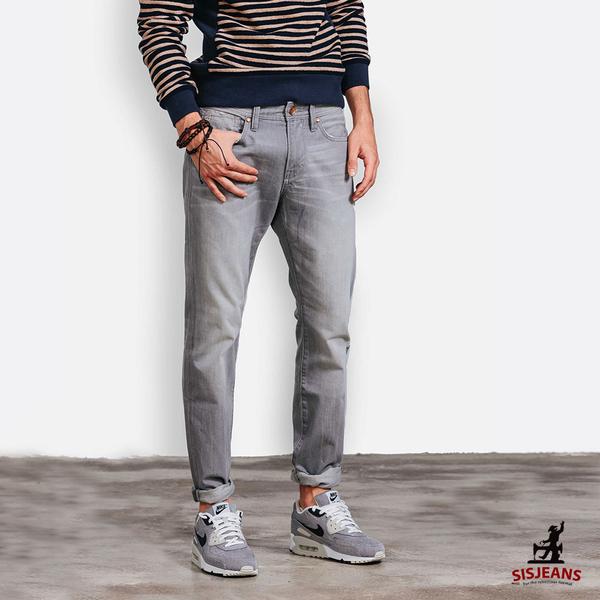 SISJEANS-銀灰刷色輕磨牛仔褲【15271015】