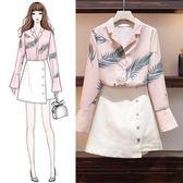 中大尺碼 棉花糖女生L-4XL大碼女裝秋季新款減齡遮肉顯瘦套裝時尚洋氣網紅兩件套4F079.5129韓依紡