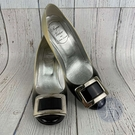 BRAND楓月 ROGER VIVIER RV 黑灰漸層 漆皮 淡金釦 方扣 高跟鞋 女鞋 歐規#36.5