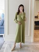 AROOM孕婦秋冬裝坑條純色針織中長款洋裝年韓版時尚網紅款 錢夫人