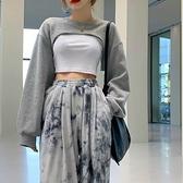 疊穿上衣 衛衣女潮ins寬鬆韓版設計感外套2021新款秋季露腰超短款疊穿上衣 韓國時尚週