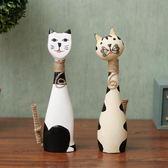 彩繪木質小貓創意情侶貓咪客廳招財擺件家居裝飾工藝禮品擺設【極有家】
