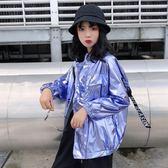 夏裝女裝韓版原宿風個性鐳射寬鬆薄款外套情侶防曬衫外套開襟上衣 東京衣櫃