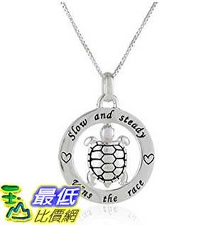 [美國直購] Sterling Silver Circle Slow and Steady Wins The Race with Turtle Pendant Necklace, 18 項鍊