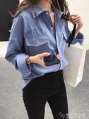 襯衣女年新款韓版春裝女士牛仔襯衫女設計感小眾復古港味上衣 安妮塔小鋪