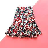 油畫水彩風碎花包臀棉綢小短裙女夏季時尚綿綢半身裙荷葉邊魚尾裙 果果輕時尚