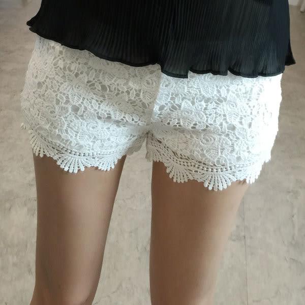 蕾花百搭短褲 蕾絲安全褲 顯瘦翹臀 黑白杏 韓 NXS
