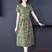 2020夏季新款休閒亞麻棉麻連身裙洋裝大碼遮肚顯瘦女裝棉綢中長款裙子 OO9803【Rose中大尺碼】