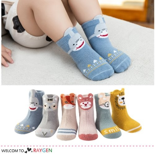 立體耳朵卡通動物獅子鯊魚寶寶襪 短襪 中筒襪