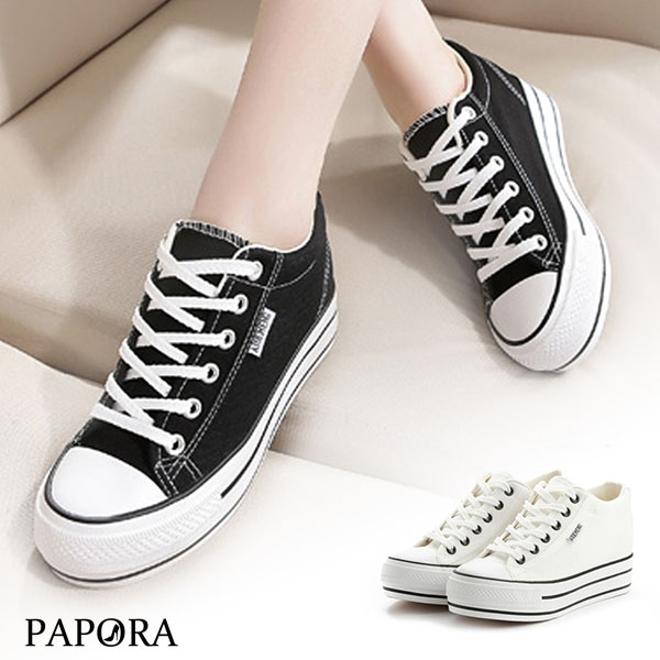 時尚厚底綁帶帆布休閒鞋【KH-8】黑/白(偏小)