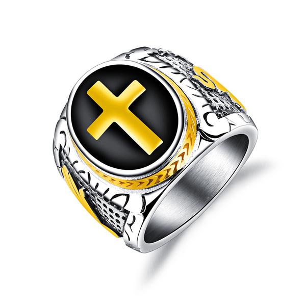 白鋼戒指 中性戒指 復古十字架戒指 不生鏽 男友禮物 情人禮物 單個價【BKS603】Z.MO鈦鋼屋