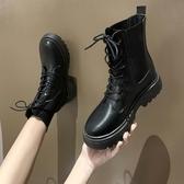短靴 靴子女時尚百搭新款秋季圓頭學生短筒靴韓版粗跟套筒靴潮 降價兩天