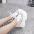 高跟鞋甜美粉色蕾絲網面運動鞋2021夏季新款12cm超高跟厚底松糕小白鞋女 雲朵