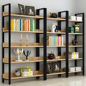 鋼木書架簡易鐵藝貨架客廳牆上多層置物架收納架子展示架書櫃xw 新年鉅惠