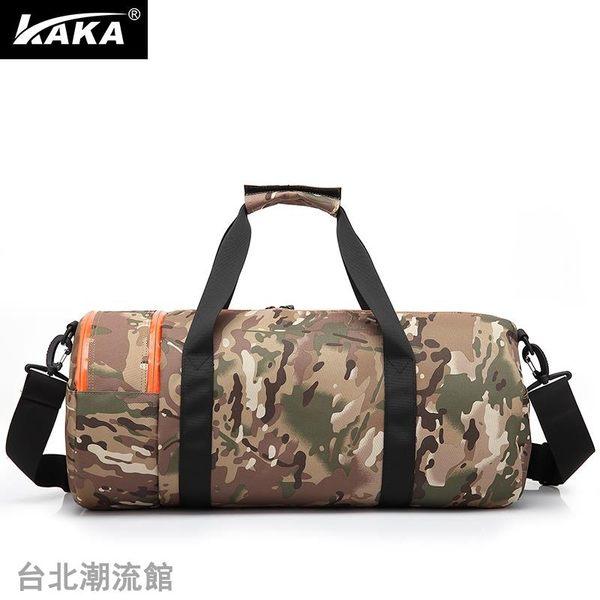卡卡手提旅行包袋運動包健身包男士訓練包大容量圓筒包旅游行李包