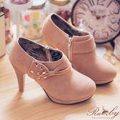 【限時79折】靴子 水鑽蝴蝶結麂皮側拉鍊高跟踝靴-Ruby s 露比午茶