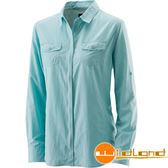 Wildland 荒野 W1201-65湖水藍 女拉鍊可調節抗UV襯衫