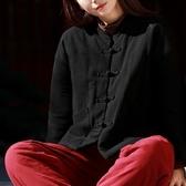 中國風棉衣女短款民族風立領中式佛系衣服女式復古小棉襖棉麻冬季