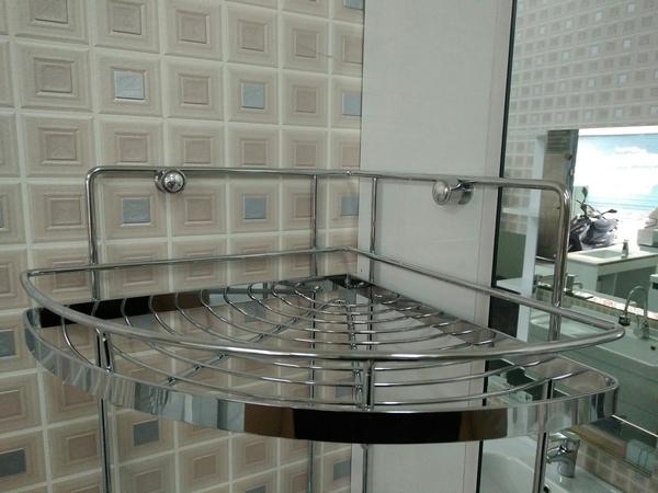 衛浴 浴室 不銹鋼三層轉角置物架 收納網籃 收納架 置物平台 寬26x深26x高62cm