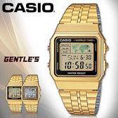 CASIO手錶專賣店 卡西歐 A500WGA-1D 男錶  金色 數字型 生活防水 LED照明 碼錶 不鏽鋼錶帶