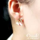 無耳洞耳環 甜蜜小櫻桃貓眼石鑲鑽耳夾 【絢彩家OsmaR】現貨販售