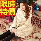 羽絨外套-純色連帽雙排扣中長版女夾克4色64m35[巴黎精品]