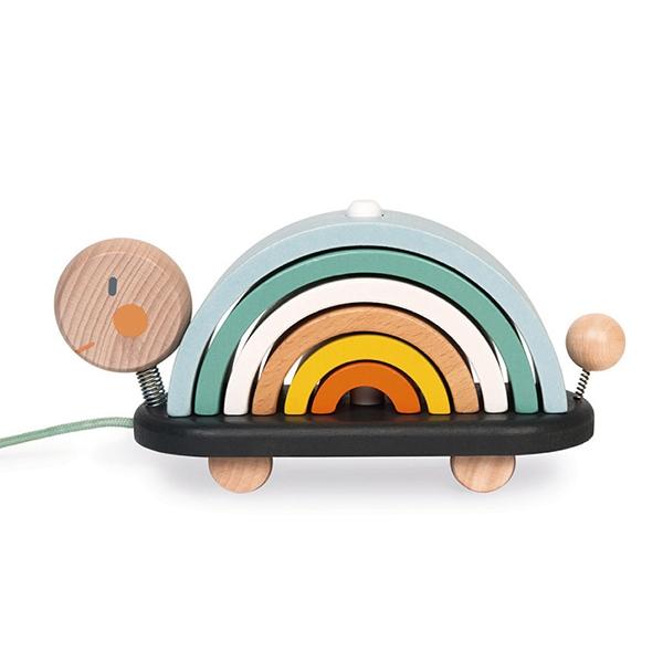 【法國Janod】北歐簡約木玩-彩虹龜托托
