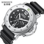 機械手錶 男士手錶三眼矽膠帶夜光防水運動全自動男