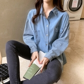 牛仔襯衫女設計感小眾拼接條紋長袖上衣寬松bf風襯衣外套T213B韓衣裳