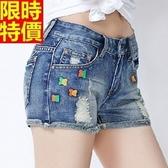 牛仔短褲-撞色繡花破洞毛邊丹寧女休閒褲2色69h32【巴黎精品】