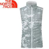 【The North Face 女款 ThermoBall背心《白迷彩》】363UYBN/極輕量/科技羽絨/防風快乾★滿額送
