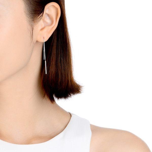 點睛品 Ear Play 鉑金簡約長線條耳環