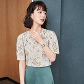 涼感上衣 短袖襯衫S-2XL雪紡衫女夏季韓版復古蕾絲刺繡上衣碎花百搭顯瘦小衫T614快時尚