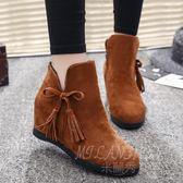 流蘇雪地靴秋冬季新款韓版平底內增高加絨保暖短靴百搭女鞋