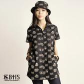 【BTIS】滿版印花襯衫 女款 / 黑色