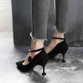 春季新款高跟鞋尖頭細跟韓版百搭中跟女鞋子一字扣帶貓跟單鞋