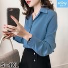 【V2710】shiny藍格子-簡約氣質‧純色小V領寬鬆顯瘦長袖上衣