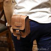男包 潮流5.5寸手機胸包男士穿皮帶腰包多功能休閒掛包瘋馬皮 阿宅便利店