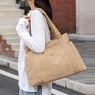 上班拎包大容量女包單肩包復古帆布包多袋媽咪包上班挎包休閒包包女托特包25日 快速出貨