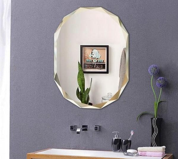 簡約歐式無框鏡多棱浴室鏡子壁掛鏡粘貼鏡梳妝化妝鏡洗手間衛浴鏡【50*70公分】